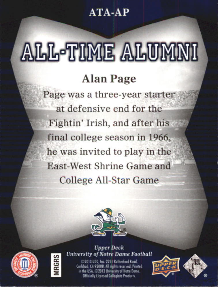 2013 Upper Deck Notre Dame All Time Alumni #ATAAP Alan Page