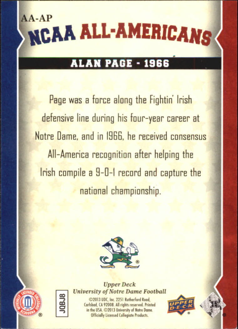 2013 Upper Deck Notre Dame All Americans #AAAP Alan Page