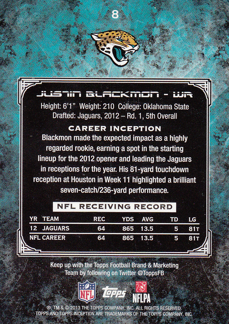2013 Topps Inception #8 Justin Blackmon