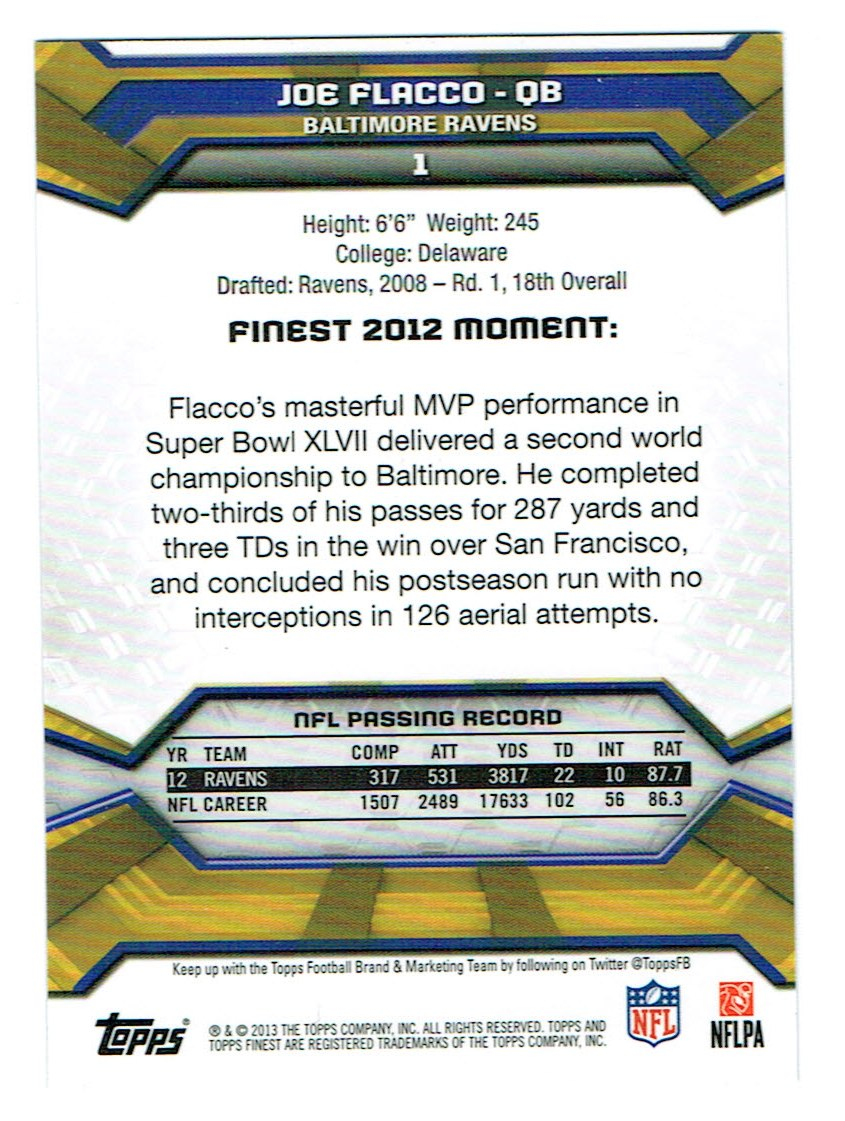 2013 Finest #1 Joe Flacco back image