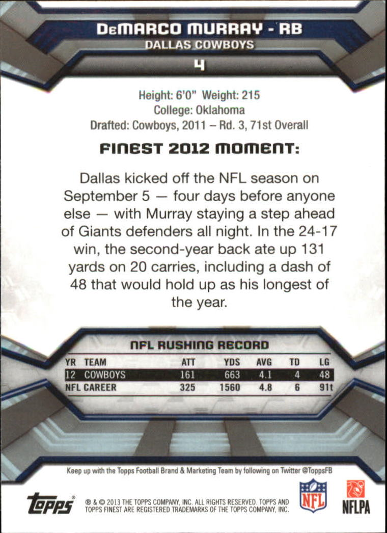2013 Finest #4 DeMarco Murray back image