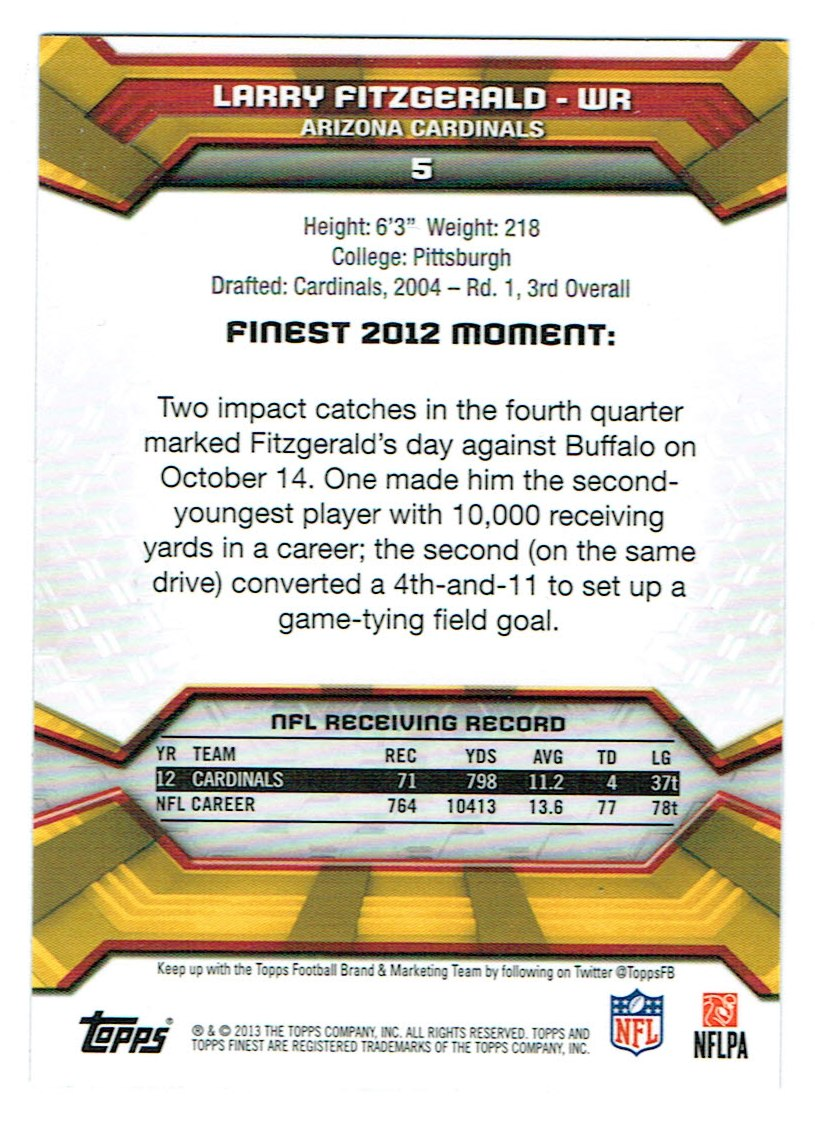 2013 Finest #5 Larry Fitzgerald back image