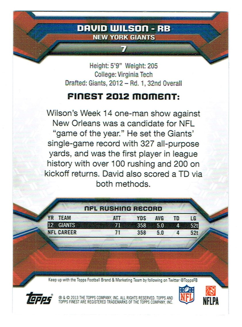 2013 Finest #7 David Wilson back image