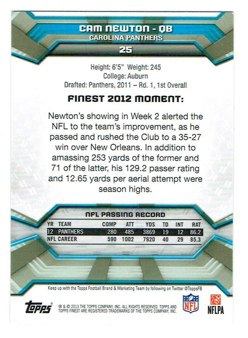 2013 Finest #25 Cam Newton back image