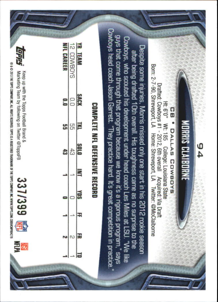 2013 Topps Pink #94 Morris Claiborne back image