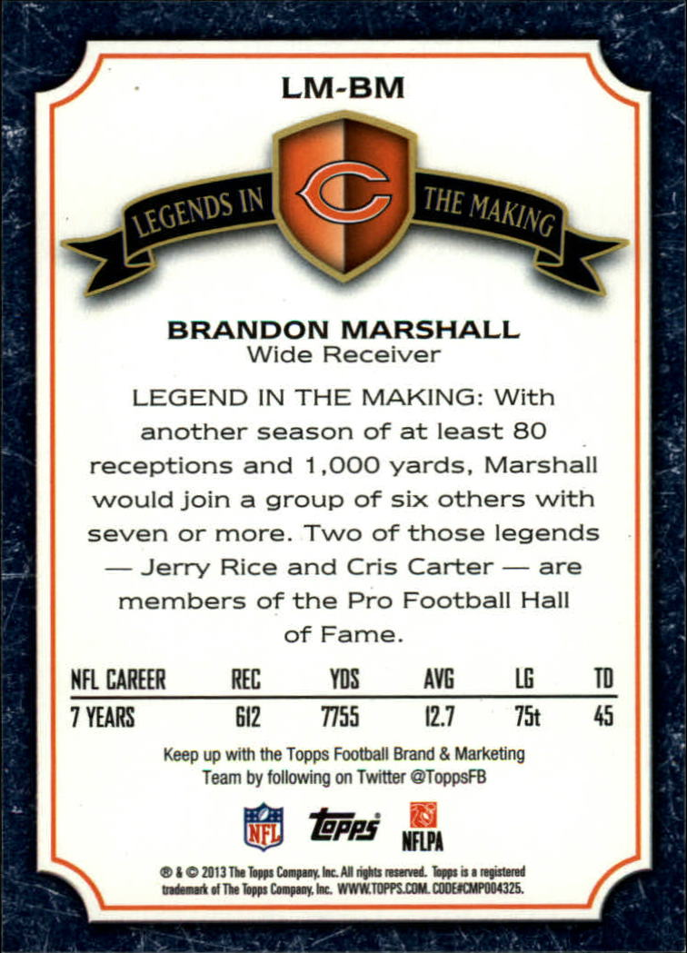 2013 Topps Legends In The Making #LMBM Brandon Marshall