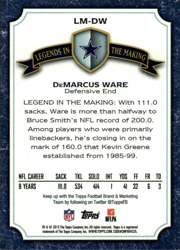 2013 Topps Legends In The Making #LMDW DeMarcus Ware