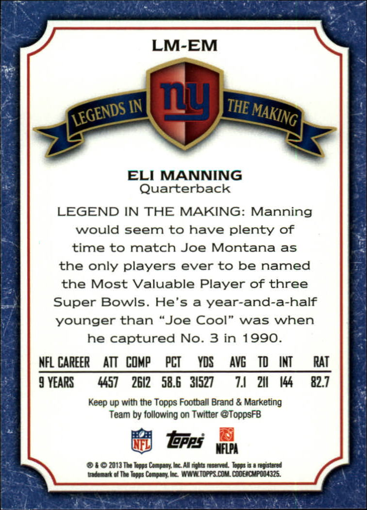 2013 Topps Legends In The Making #LMEM Eli Manning