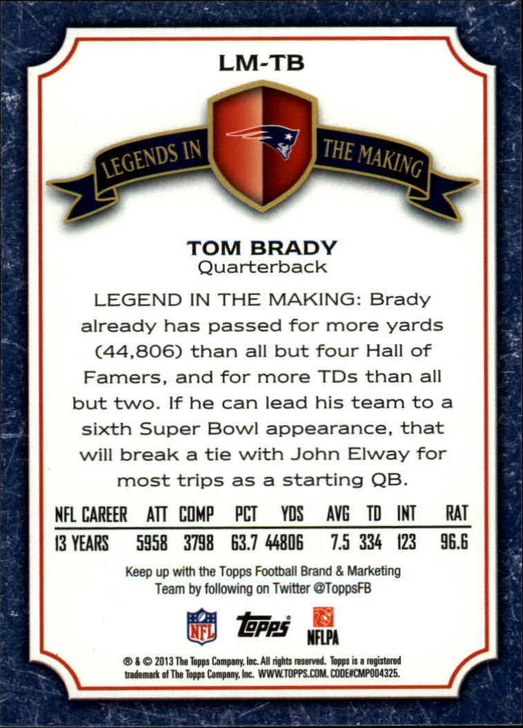 2013 Topps Legends In The Making #LMTB Tom Brady