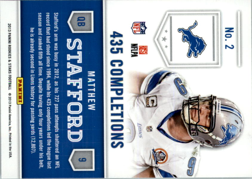 2013 Rookies and Stars Statistical Standouts #2 Matthew Stafford back image