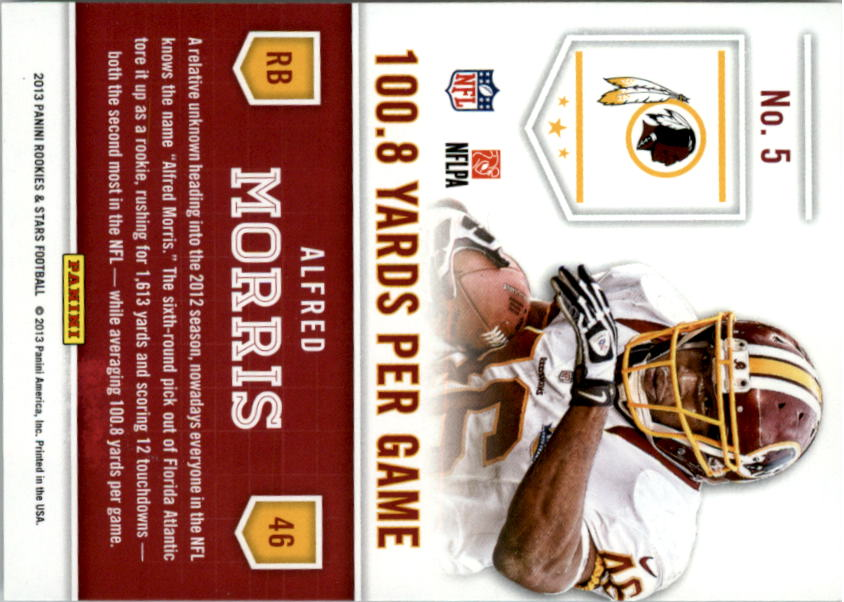 2013 Rookies and Stars Statistical Standouts #5 Alfred Morris back image