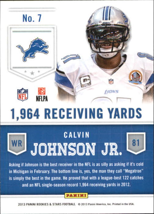 2013 Rookies and Stars Statistical Standouts #7 Calvin Johnson back image