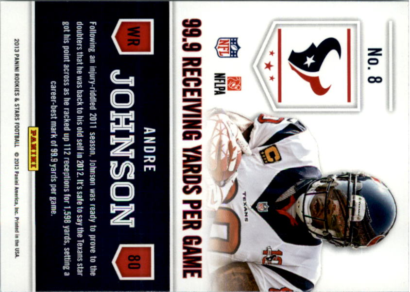 2013 Rookies and Stars Statistical Standouts #8 Andre Johnson back image