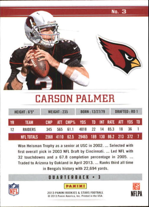 2013 Rookies and Stars Longevity Parallel #3 Carson Palmer back image