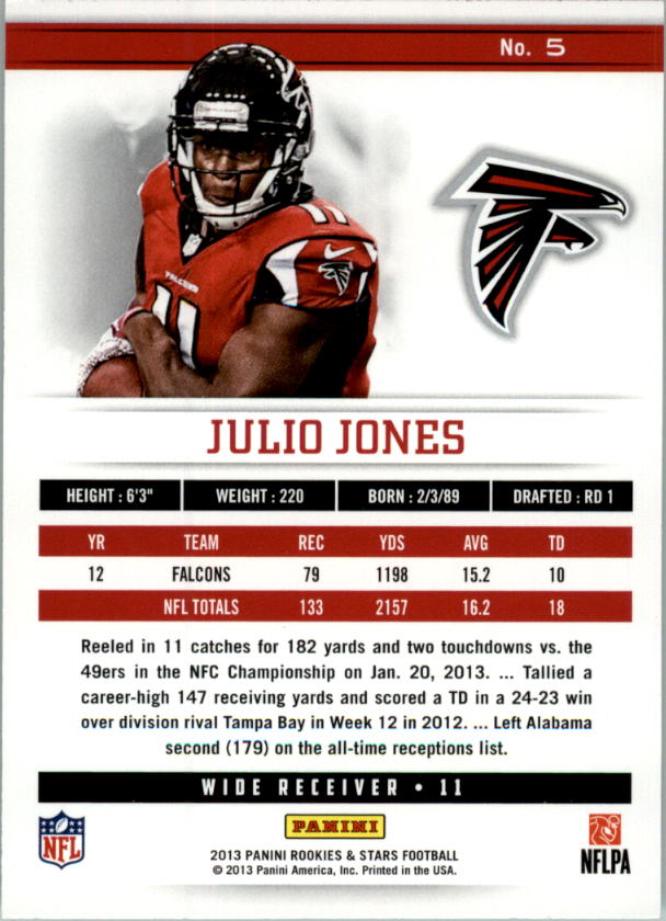2013 Rookies and Stars Longevity Parallel #5 Julio Jones back image