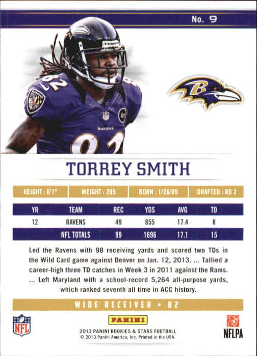 2013 Rookies and Stars Longevity Parallel #9 Torrey Smith back image