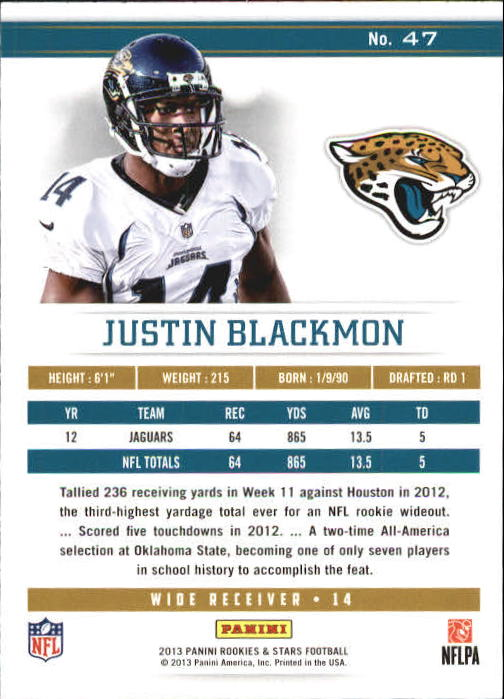 2013 Rookies and Stars Longevity Parallel #47 Justin Blackmon back image