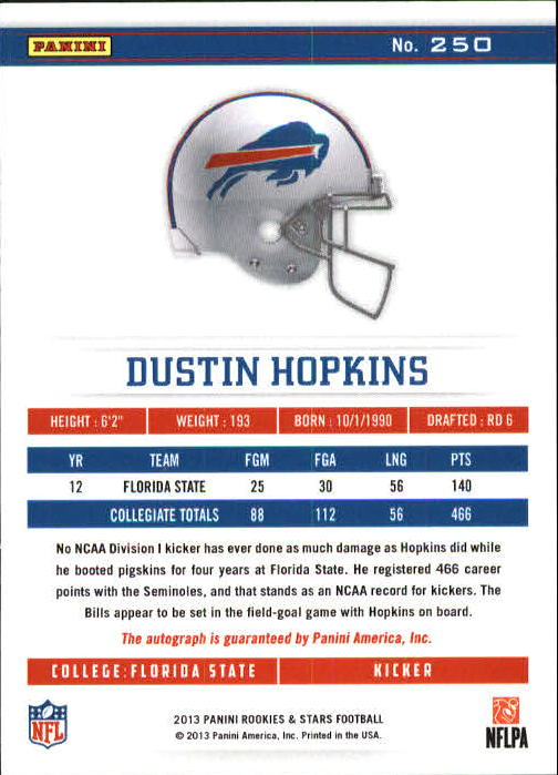 2013 Rookies and Stars Rookie Autographs Longevity #250 Dustin Hopkins back image
