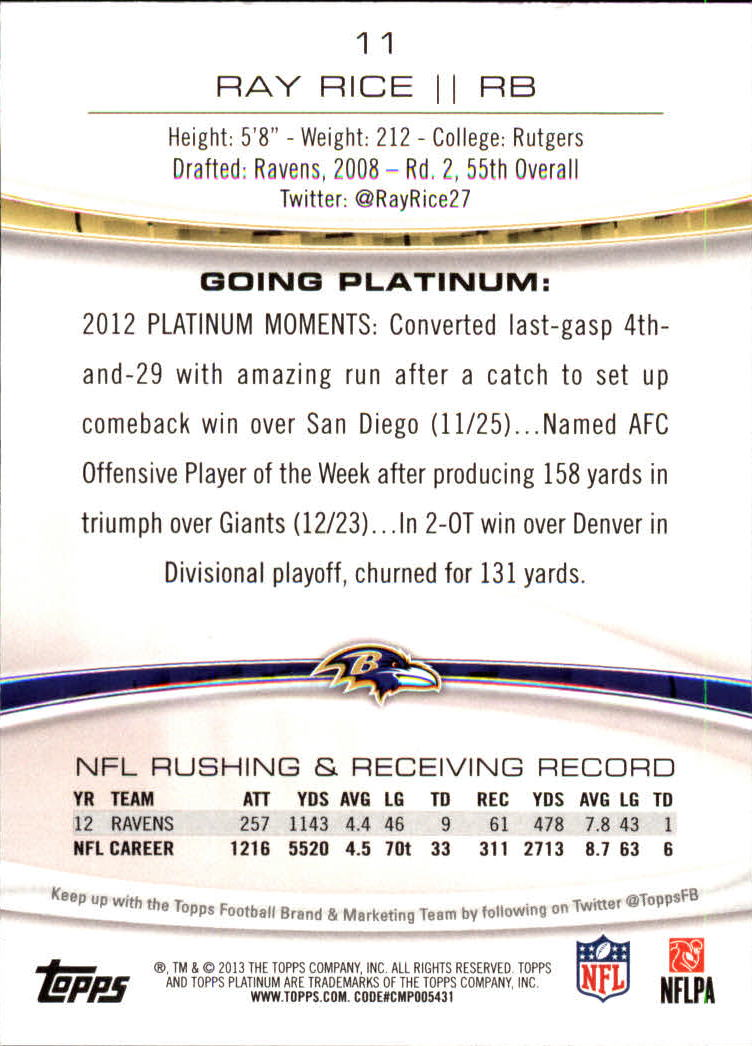 2013 Topps Platinum Sapphire #11 Ray Rice back image