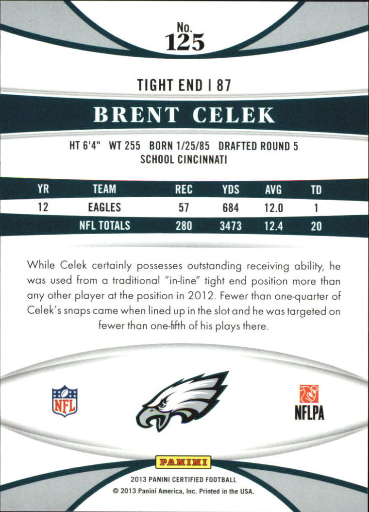 2013 Certified Mirror Red #125 Brent Celek