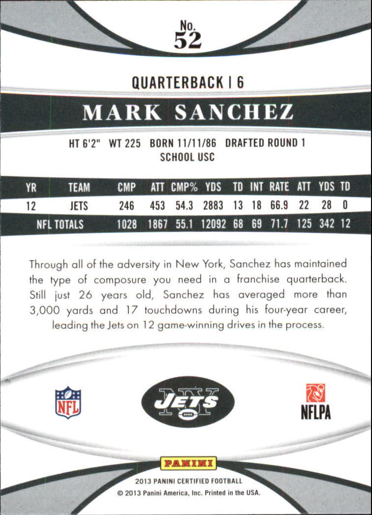 2013 Certified Platinum Red #52 Mark Sanchez