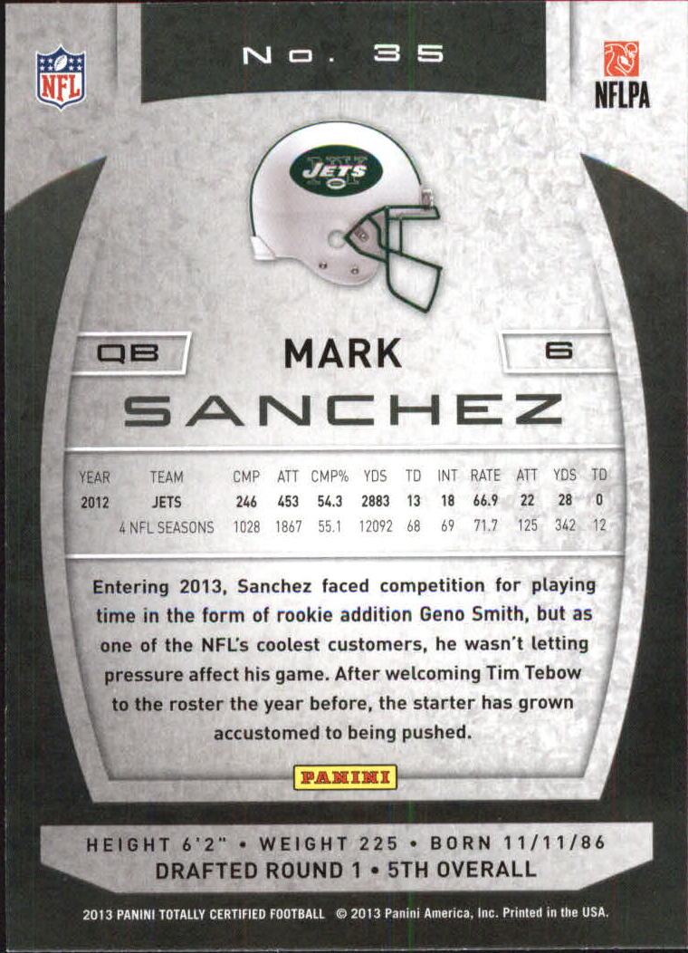 2013 Totally Certified Red #35 Mark Sanchez