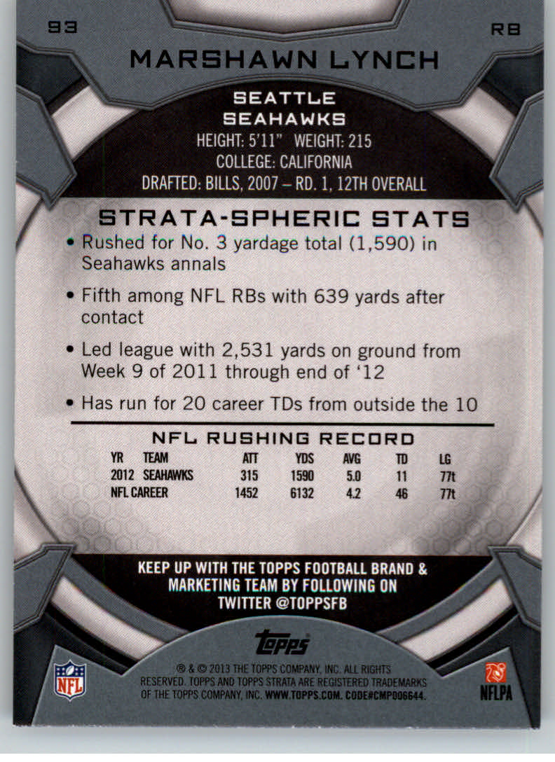 2013 Topps Strata #93 Marshawn Lynch back image