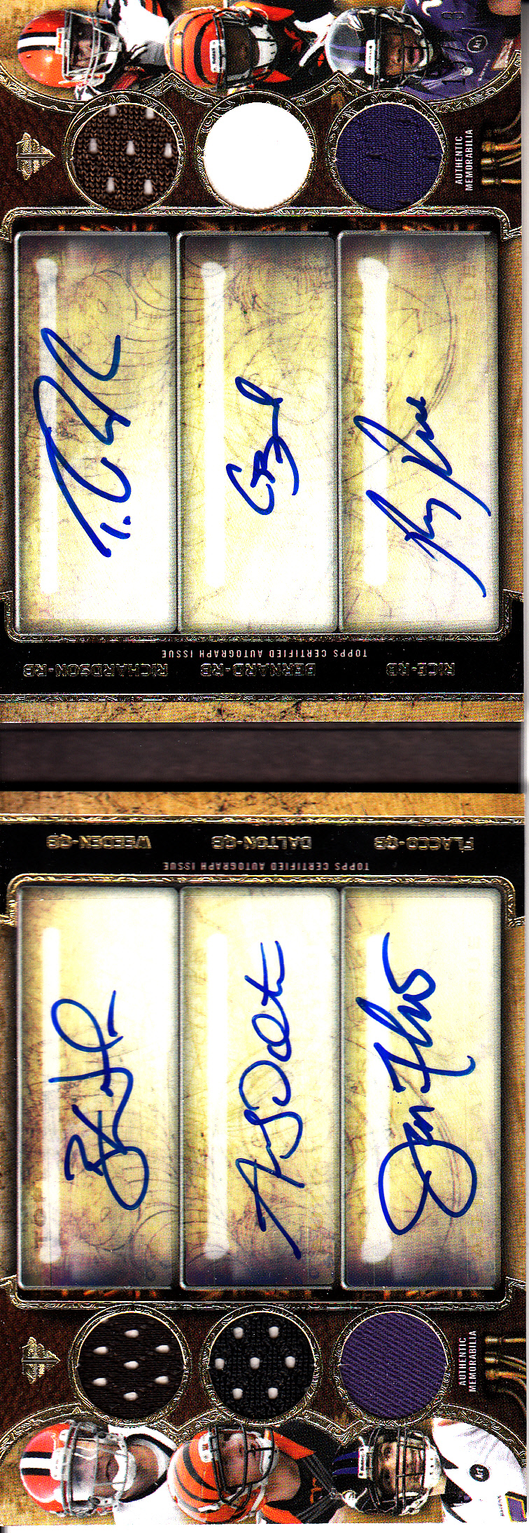 2013 Topps Triple Threads Autographed Relic Double Trios Gold #TTARDCWRDBFR Andy Dalton/Brandon Weeden/Joe Flacco/Trent Richardson/Ray Rice/Giovani Bernard