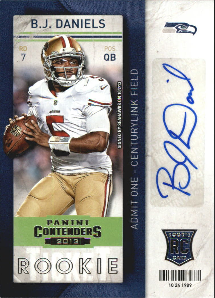 2013 Panini Contenders #109A B.J. Daniels AU RC/(throwing pose)