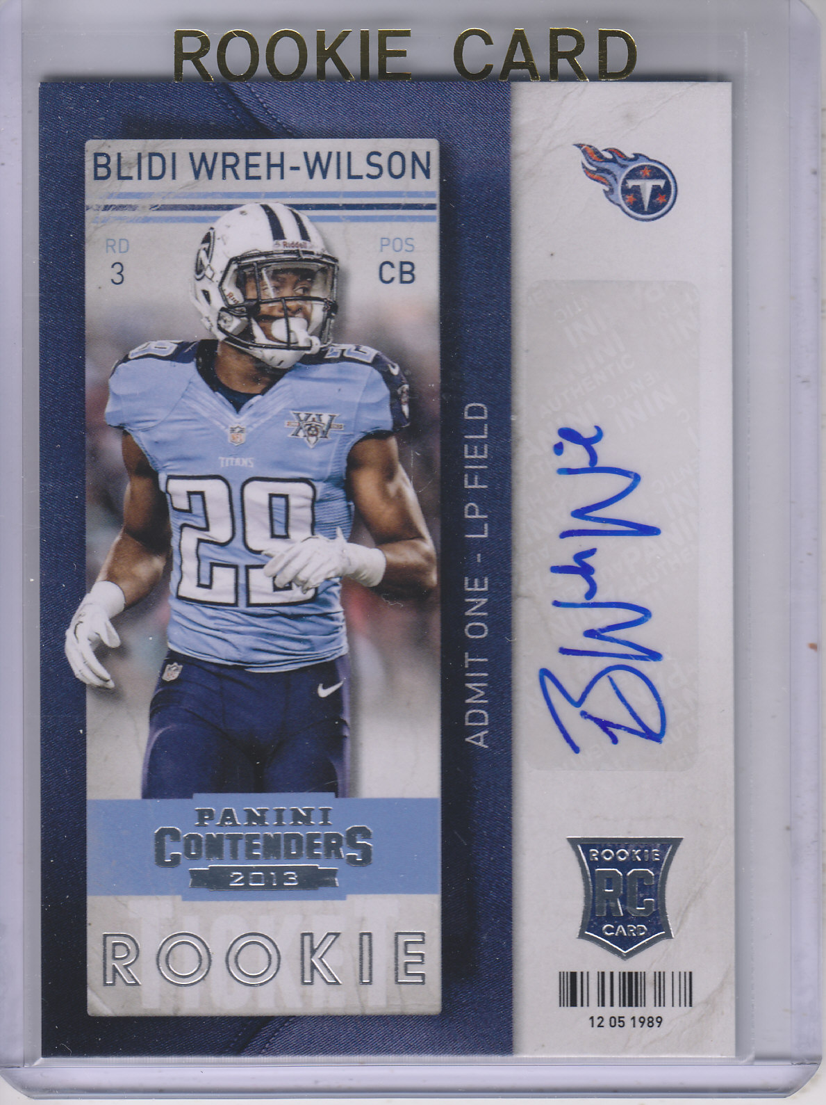 2013 Panini Contenders #113A Blidi Wreh-Wilson AU RC/(hands by hip)