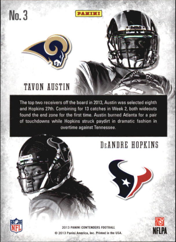 2013 Panini Contenders Round Numbers Gold #3 DeAndre Hopkins/Tavon Austin