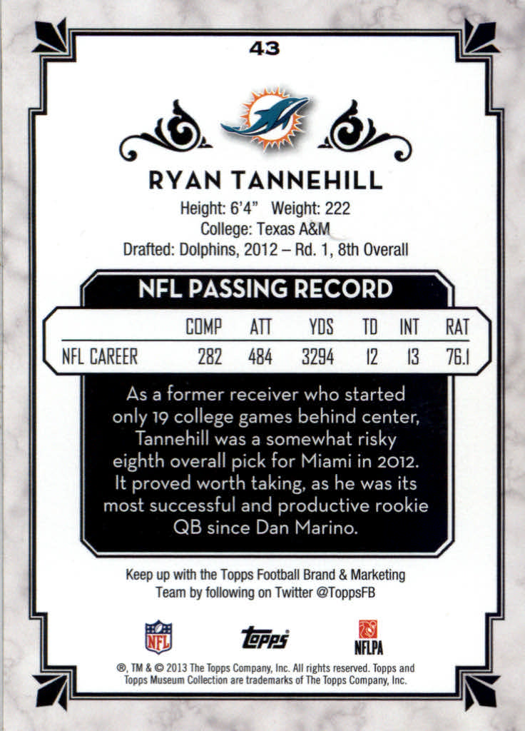 2013 Topps Museum Collection #43 Ryan Tannehill