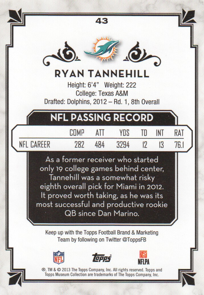 2013 Topps Museum Collection Copper #43 Ryan Tannehill