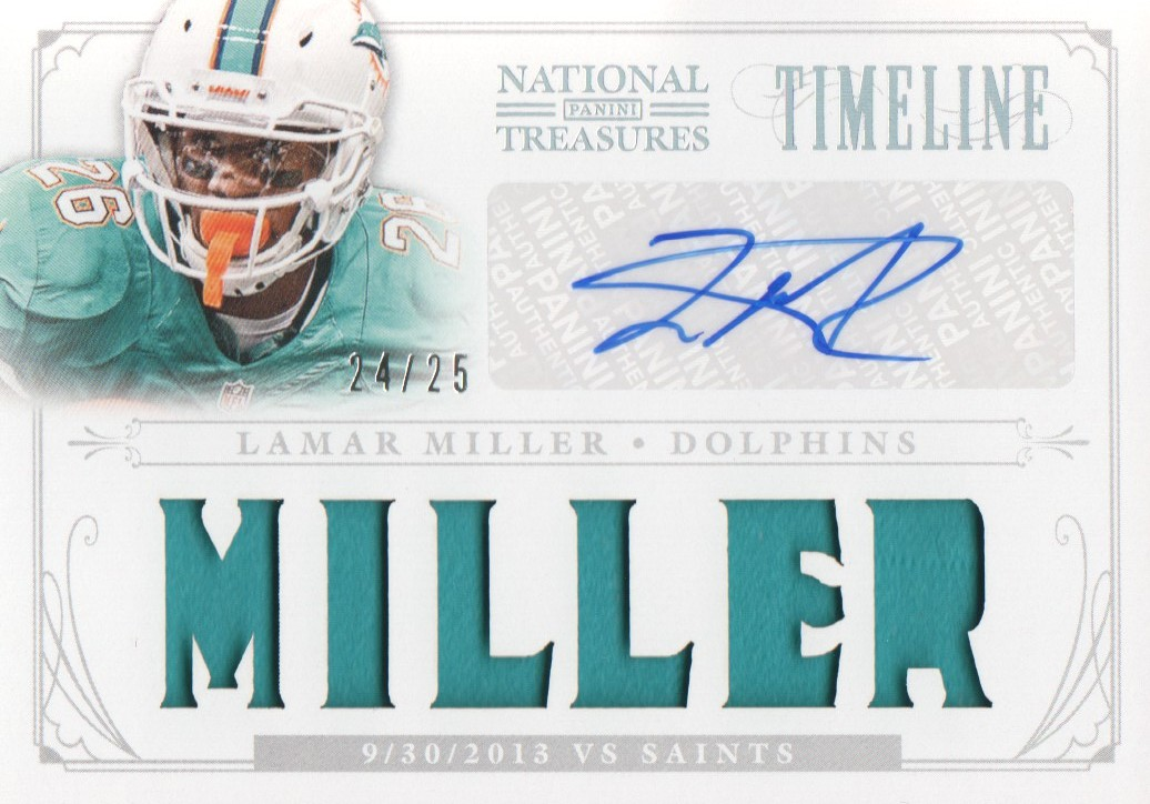 2013 Panini National Treasures Timeline Materials Signature Custom Names #35 Lamar Miller/25