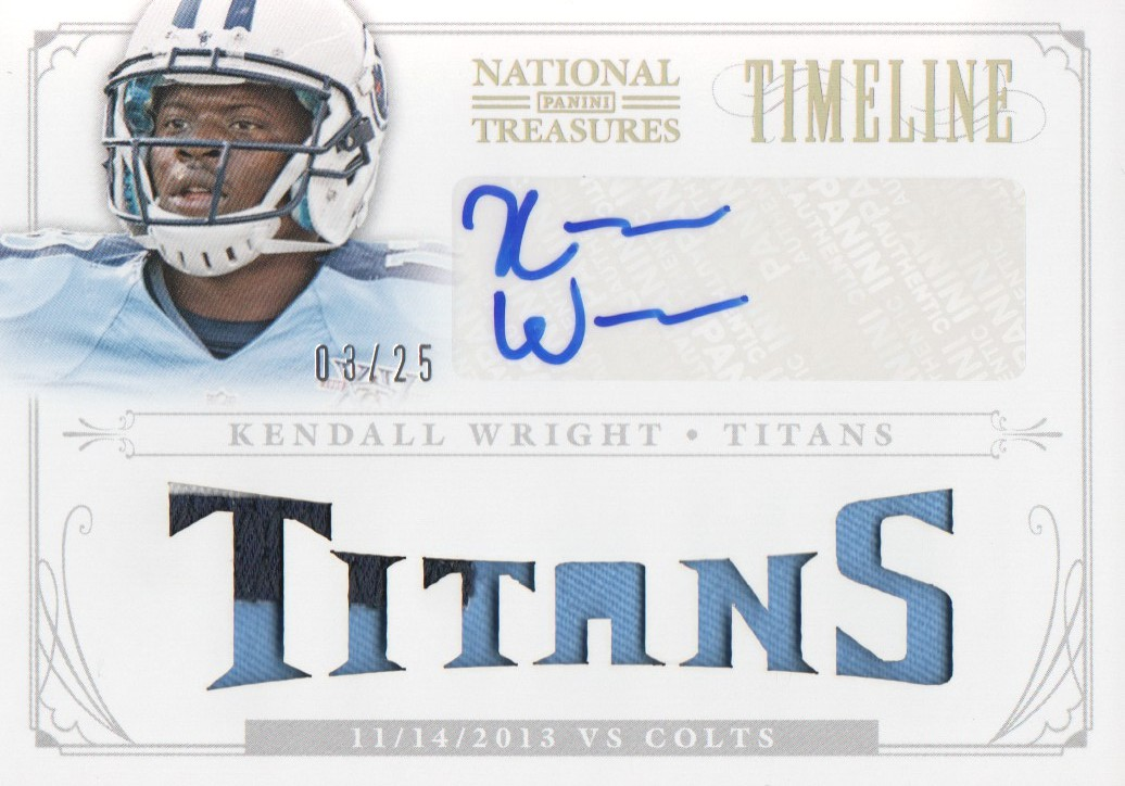 2013 Panini National Treasures Timeline Materials Signature Custom Team Name Prime #31 Kendall Wright/25