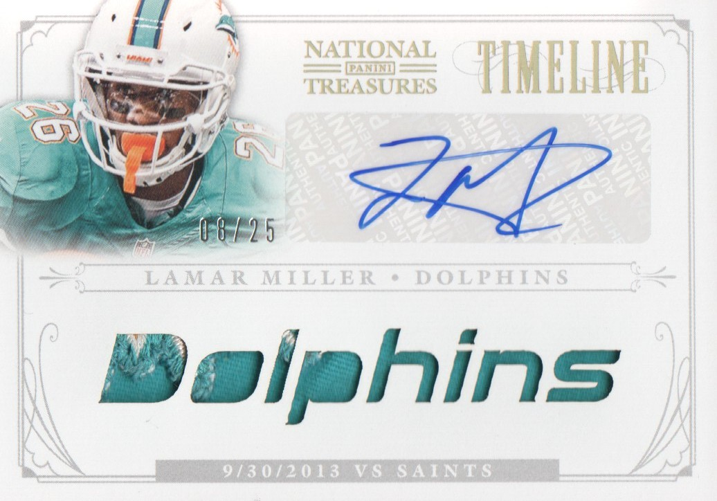 2013 Panini National Treasures Timeline Materials Signature Custom Team Name Prime #35 Lamar Miller/25