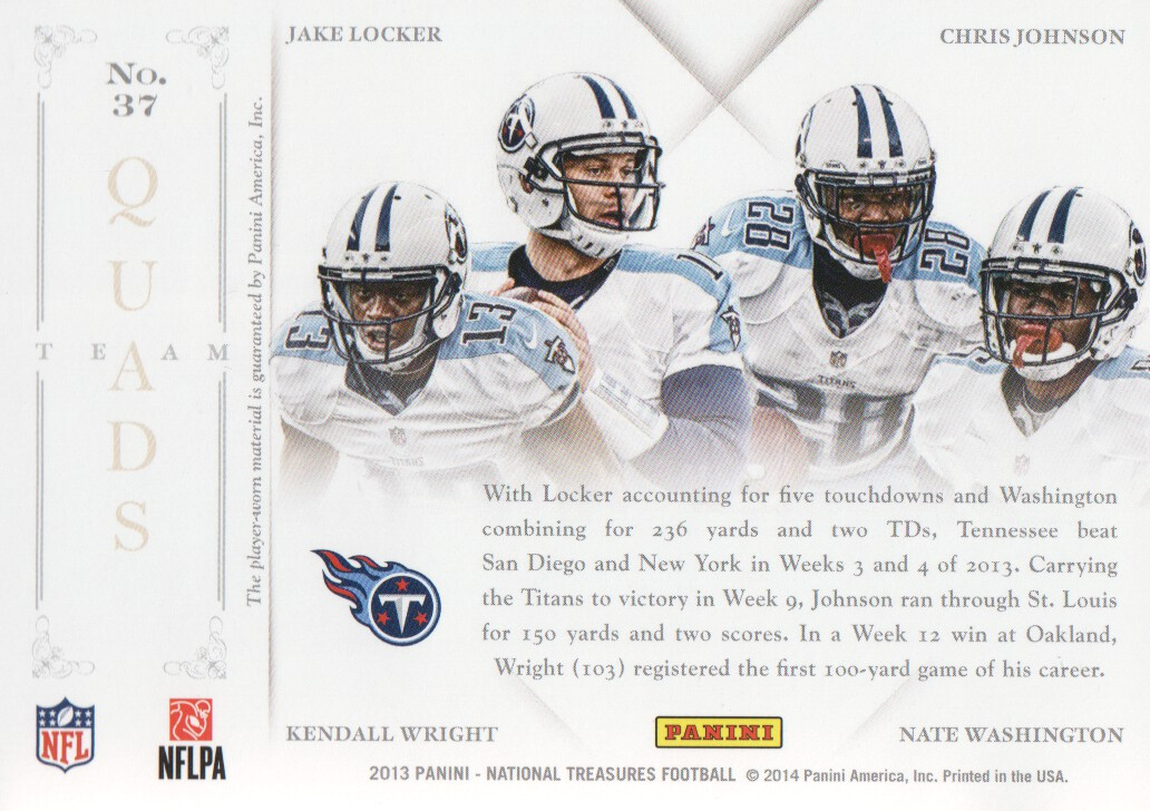 2013 Panini National Treasures Team Quads Materials #37 Chris Johnson/Jake Locker/Kendall Wright/Nate Washington/99