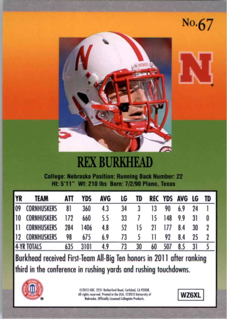 2013 Fleer Retro Ultra #67 Rex Burkhead