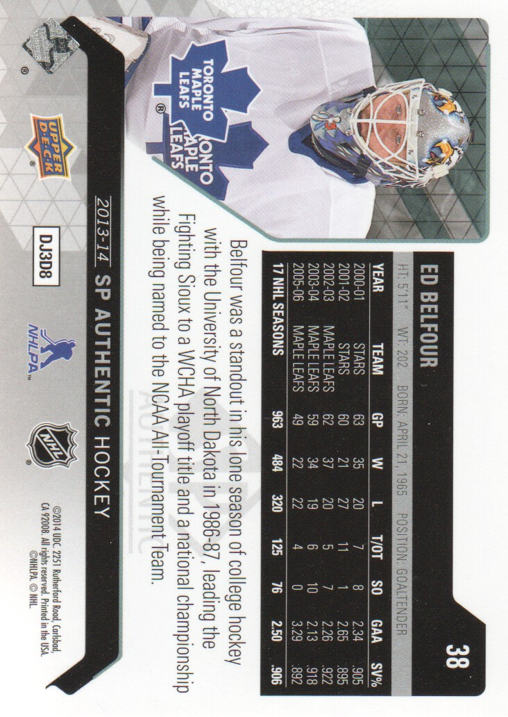 2013-14 SP Authentic #38 Ed Belfour