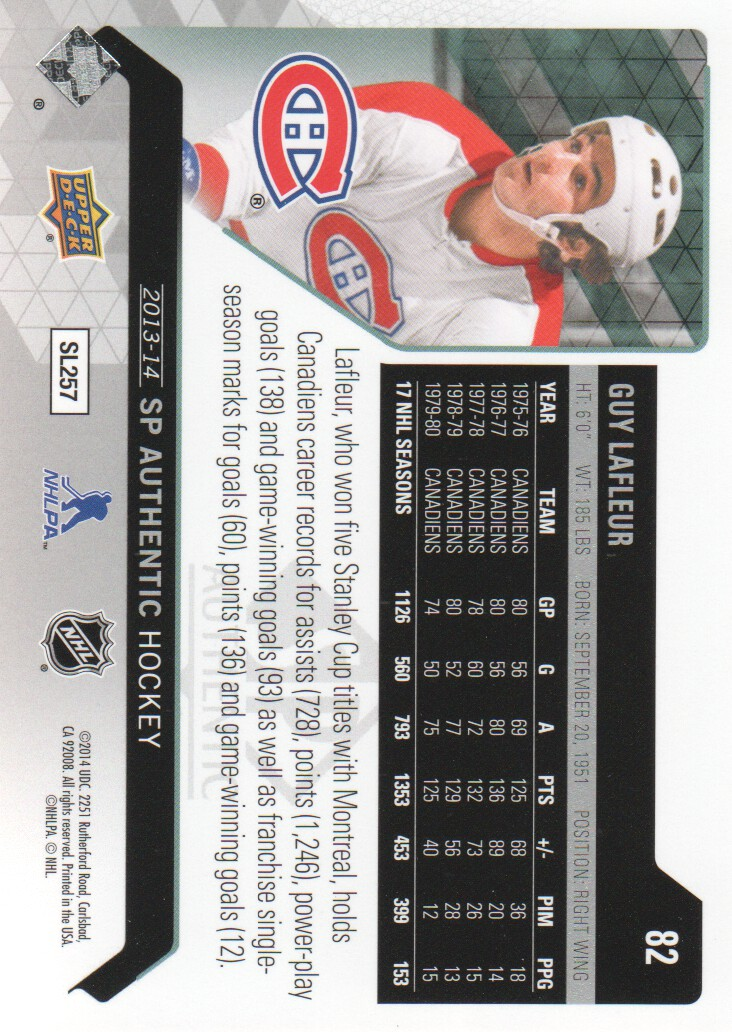 2013-14 SP Authentic #82 Guy Lafleur