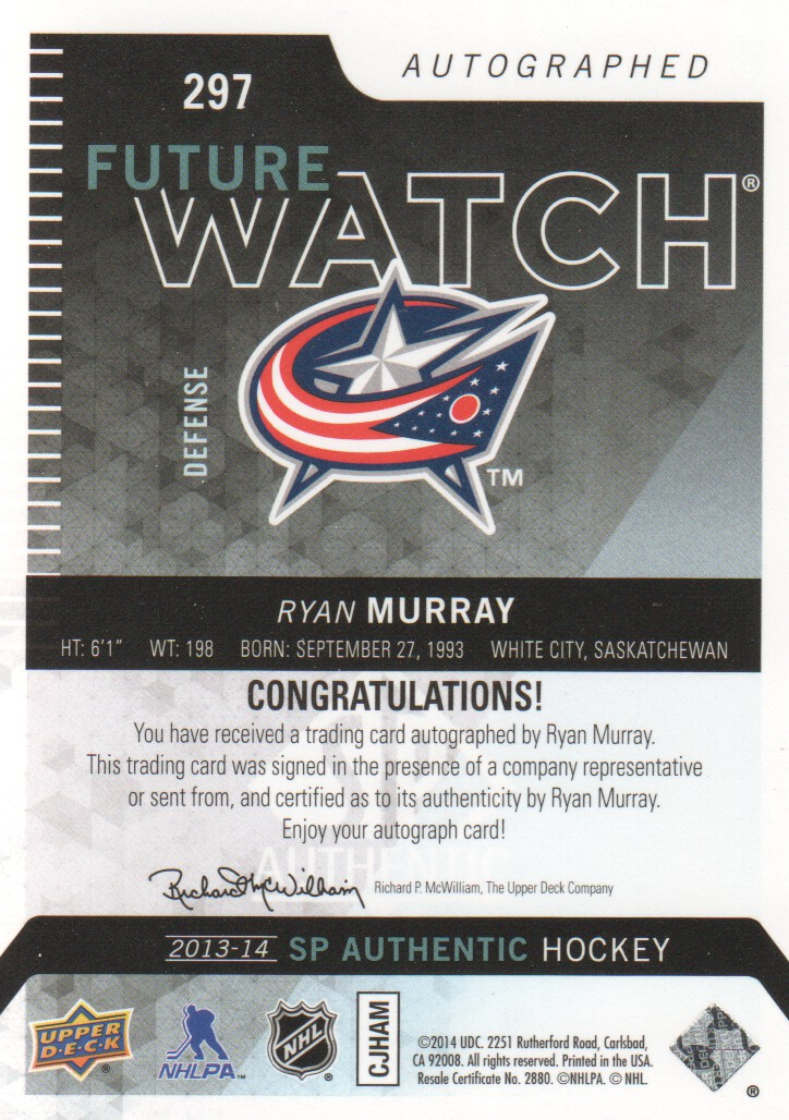 2013-14 SP Authentic #297 Ryan Murray AU RC