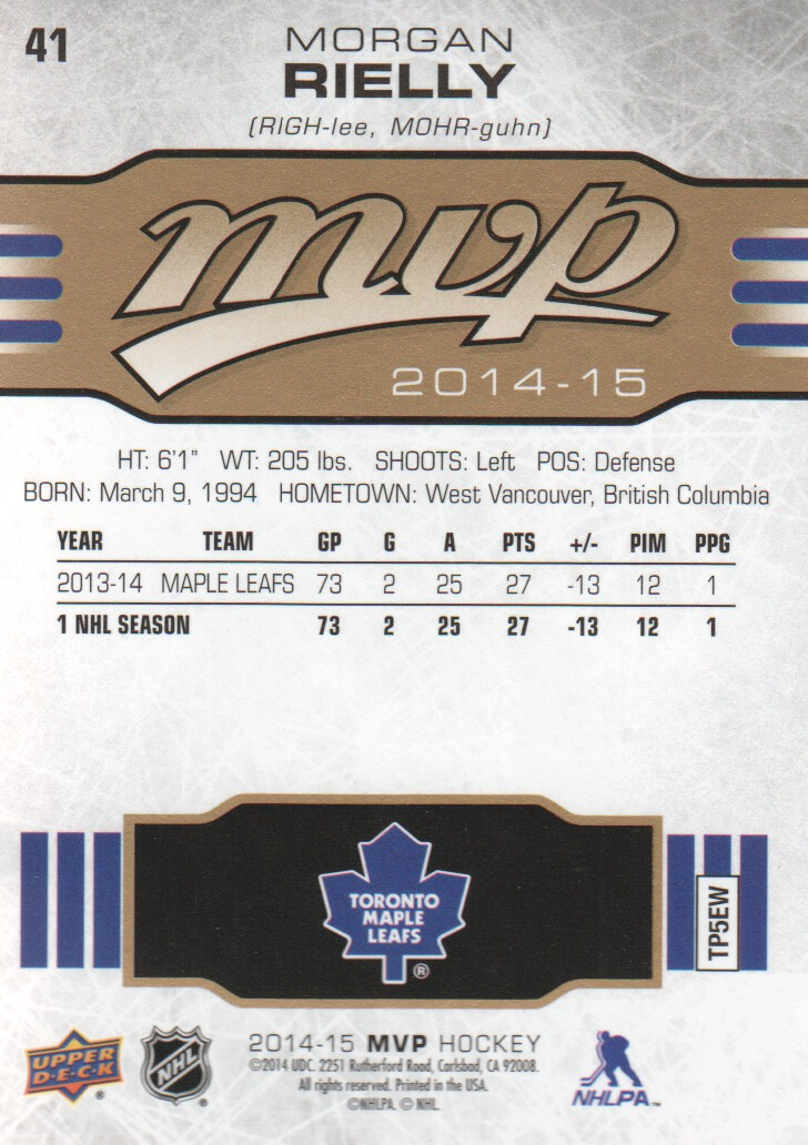 2014-15 Upper Deck MVP #41 Morgan Rielly
