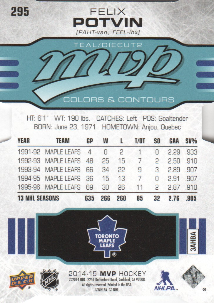 2014-15 Upper Deck MVP Colors and Contours #295 Felix Potvin T2
