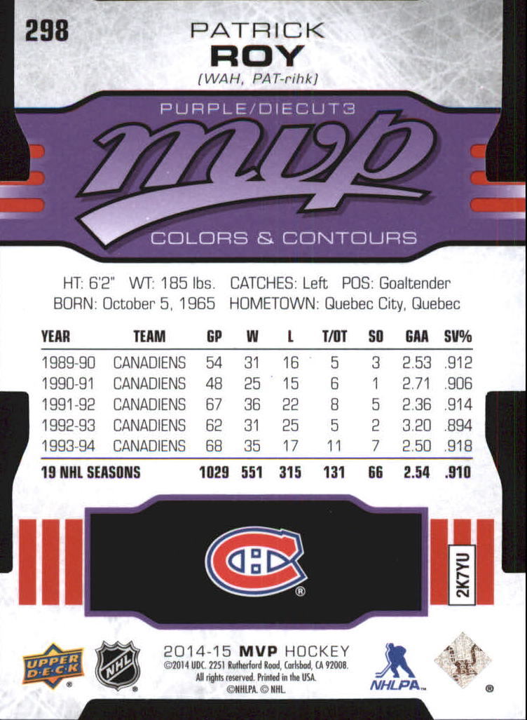 2014-15 Upper Deck MVP Colors and Contours #298 Patrick Roy P3