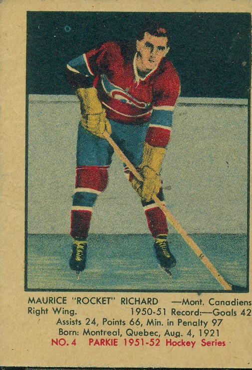 1951-52 Parkhurst #4 Maurice Richard RC