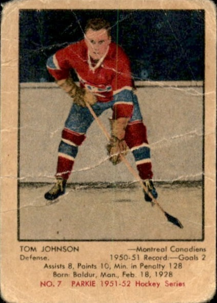1951-52 Parkhurst #7 Tom Johnson RC