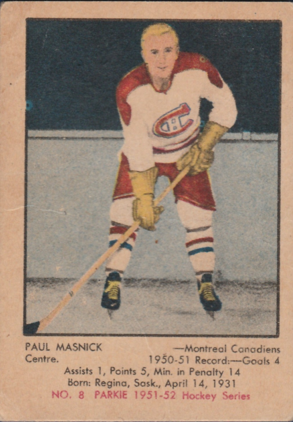 1951-52 Parkhurst #8 Paul Masnick RC