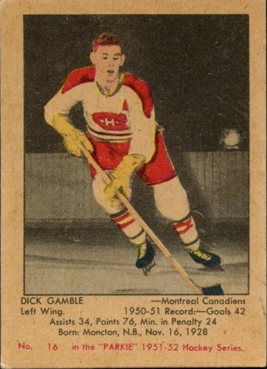 1951-52 Parkhurst #16 Dick Gamble RC