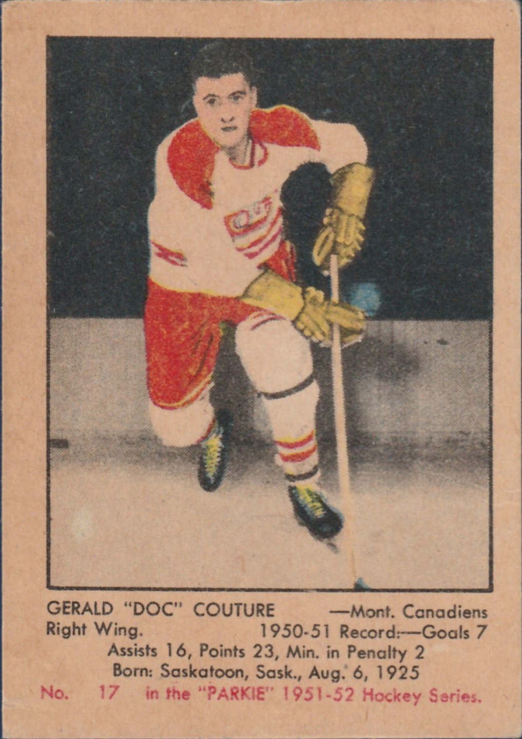 1951-52 Parkhurst #17 Gerry Couture RC