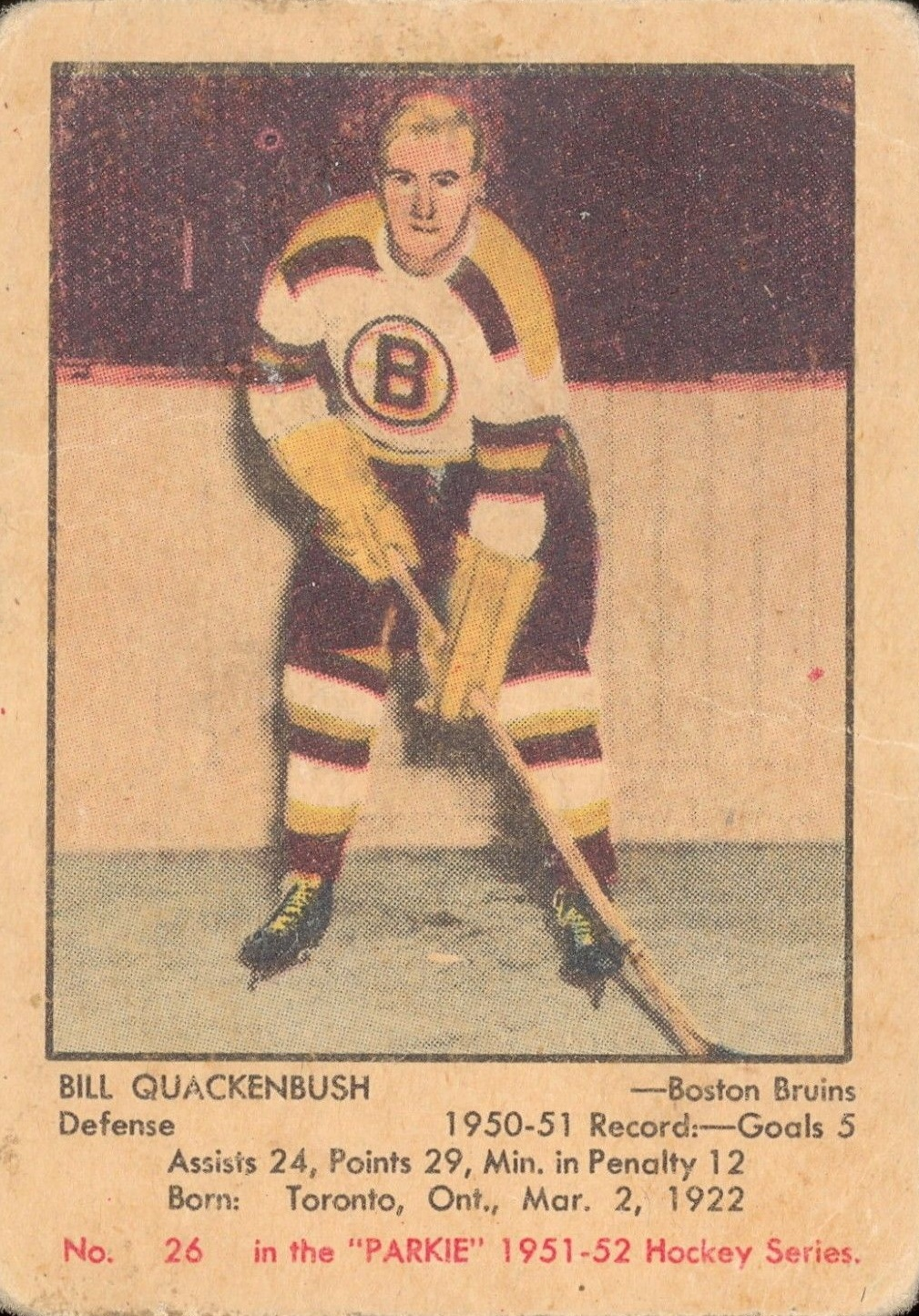 1951-52 Parkhurst #26 Bill Quackenbush RC